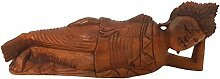 40cm Holz Buddha liegend schlafend Relax Budda