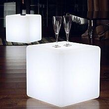 40cm LED Sitzwürfel Hocker Stehlampe Modern Design - Weiße Netzbetriebene Leuchtwürfel Beistelltisch Möbel von PK Green