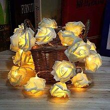 40er LED Rosen Lichterkette,weich Stoff Rosen