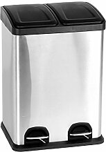 40L Duo Küchen Edelstahl Mülleimer 2x20 Liter | Abfalleimer Treteimer | Mülltrenner Müllsammler