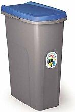 40L Mülleimer blau Deckel Recycling Mülltrennung