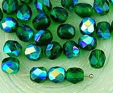 40pcs Crystal Dark Green Emerald Klar, Ab Halb