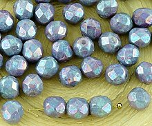40pcs Nebula Purple White Alabaster Opal Runde