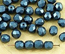 40pcs Pastell Pearl Navy Blue Rund Facettiert