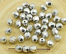 40pcs Silber-Metallic Tschechische Glas Runde
