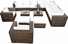 41tlg. XXXL Lounge Set Polyrattan für Balkon und Terrasse erweiterbar - Lounge Eckset XXXL - braun-mix – Lounge Möbel Set Garnitur Sitzgruppe Gartenmöbel - Gartenlounge Set inkl. Lounge Ecke + Sessel + Hocker + Tisch + Kissen
