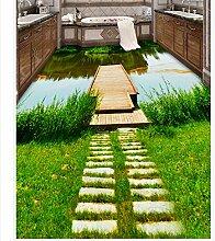 430 cmX 300 cm 3d-individuelle Tapete Flusspromenade Waschraum Badezimmer 3D, PVC-Bodenbelag Tapete Fußboden 3d Wallpaper, G