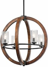 43185AUB Grand Bank 4LT Pendant, Auburn Stained Finish with Clear Seedy Glass Shades by Kichler