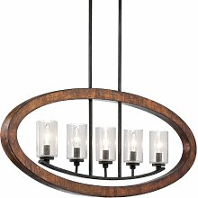 43186AUB Grand Bank 5LT Linear Pendant, Auburn Stained Finish with Clear Seedy Glass Shades by Kichler