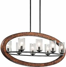 43191AUB Grand Bank 8LT Linear Pendant, Auburn Stained Finish with Clear Seedy Glass Shades by Kichler Lighting