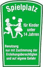 4430. Spielplatzschild Spielplatz für Kinder unter 14 Jahren Aluminium geprägt Größe 55,00 cm x 75,00 cm