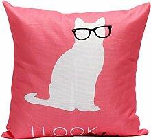 45*45cm Kissenbezug,Kingko® Lovely Katze Kissenbezug Sofa Taille werfen Kissenbezug Home Decor(Einseitig bedrucken) (Rot)