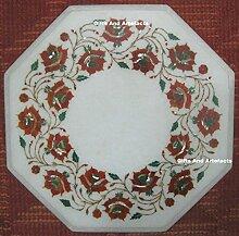 45,7cm Octagon weiß Marmor Karneol Stein Inlay