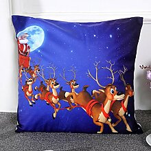 45cm45cm quadratisch Weihnachten Sofa Bett Home Dekoration Festival ninasill Kissenbezug, Leinen-Mischgewebe, D, 45 cm*45 cm