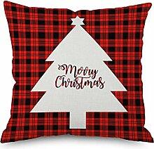 45cmX45cm Leinen Weihnachten Red Plaid Serie