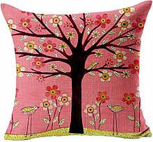 45X45cm Kissenbezug,Kingko® Einseitiges Karikatur-Baum-gedrucktes Kissen bedeckt Bett-Auto-Baumwollbettwäsche-Sofa-Kissenbezug (B)