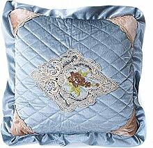 45X45cm Kissenbezug,Kingko® Retro- Blumenstickerei weicher Sofa-Taillen-Kissen-Fall-Wurf-Kissen-Abdeckungs-Ausgangsdekor, eine Seite (Blau)