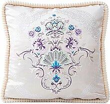 45x45cm Kissenbezug,Kingko® Retro Flower embroidery Soft Sofa Waist Pillow Case Throw Cushion Cover Home Decor,one side (E)