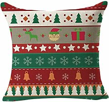 45X45cm Kissenbezug,Kingko® Weihnachtskissenbezug Wurf Taille Kissenbezug Sofa Home Decor (D)