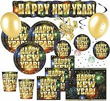 46 Teile Silvester Party Deko Set für 8 Personen - Happy New Year