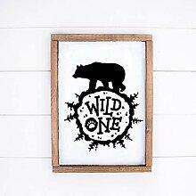 463Opher Holzschild Wild eine Wand Kunst Wald
