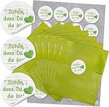 48 grüne Papiertüten 13 x 18 cm und 48 runde