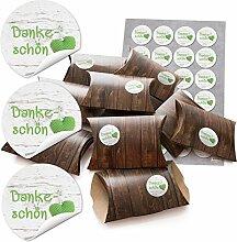 48 kleine Geschenkboxen Holz Optik braun 14,5 x