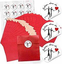48 kleine rote Papiertütchen 13 x 18 + 2 cm + 48
