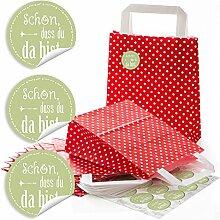 48 kleine rote Papiertüten mit Henkel für