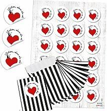 48 kleine schwarz weiß gestreifte Papiertütchen
