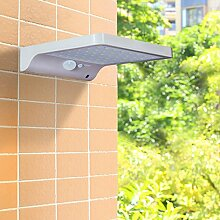 48 LED Solar Wandleuchte Solarleuchte Außenleuchte mit Bewegungsmelder und Fernbedienung Kaltweiß und Warmweiß Dimmbar 2700-6000K, Wetterfest, 450 Lumen, IP 65 mit 3 Leuchte Modi für Garten