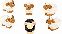 48 Schafe je 3,5cm x 3cm Figuren zur Dekoration schwarzes Schaf braun beige