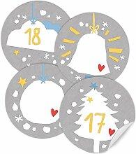 48 Sticker: 24 Adventskalenderzahlen + 24