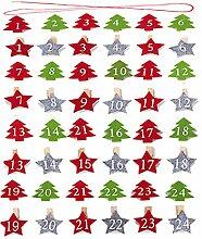 48 Stück Stern Clips und Weihnachtsbaum Clips