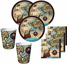 48 Teile Piraten Party Set Motiv Piraten Paradies für 16 Kinder