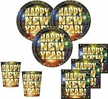 48 Teile Silvester und Neujahrs Happy New Year Deko Set 16 Personen