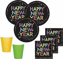 48 Teile Silvester und Neujahrs Party Deko Set 16 Personen