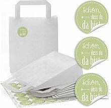 48 weiße Papier Henkeltaschen Geschenktüten mit