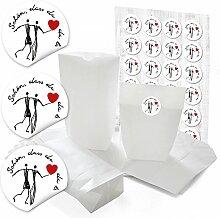 48 weiße Papiertüten für Gastgeschenke 14 x 22