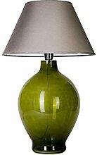 4CONCEPTS Handarbeit Glaslampe mit Stoffschirm,