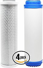 4er Pack Ersatz Filter Kit für H2O einzelhandelslieferanten adwu-d RO System–inkl. Carbon Block Filter & Granulat Aktivkohle Filter–Denali Pure Marke