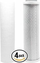 4er Pack Ersatz Filter Kit für Rainsoft ultrefiner UF10RO System–inkl. Carbon Block Filter & PP Sediment Filter–Denali Pure Marke