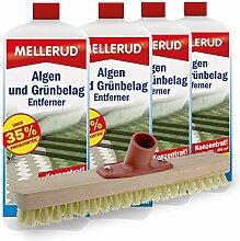 4er Pack Mellerud Algen und Grünbelag Entferner (4 x 2 Liter) inkl. Schrubber
