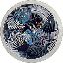 4Er-Pack Schrankknöpfe Blätter Muster