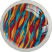4Er-Pack Schrankknöpfe Farbwelle Kristallglas