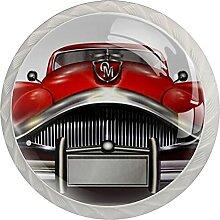 4Er-Pack Schrankknöpfe Rotes Auto Kristallglas