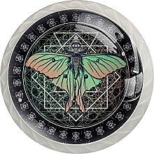 4Er-Pack Schrankknöpfe Schmetterling Kristallglas
