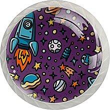 4Er-Pack Schrankknöpfe Weltraumrakete Planet