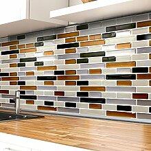 4er Set 27,9 x 23,4 cm Fliesenaufkleber kupfer dunkelgrau silber I 3D Mosaik Aufkleber Wandsticker Küche Bad Badezimmer Wandaro W3349