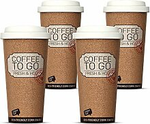 4er Set, Becher to go, Coffee to go Becher Thermo,